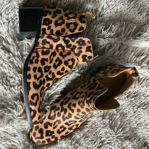 Franco Sarto leopard print booties - Like New!
